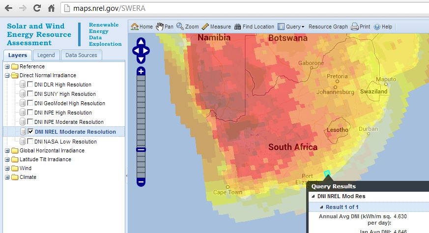 NREL Map of South Africa